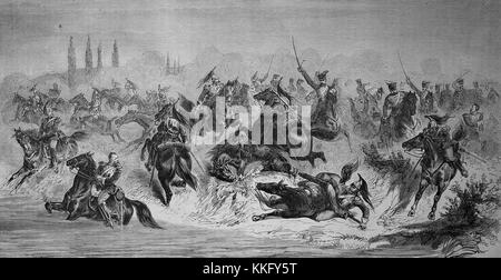 Attack of the 13th Prussian Hussars Regiment on French Cuirassiers at Beaumont on 30th August, Franco-German War - Stock Photo