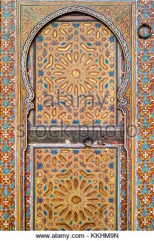 Painted wooded door at Marrakech Museum, housed in the 19th century Dar Menebhi Palace, Marrakesh, Morocco. - Stock Photo