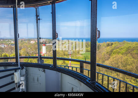 View from the top of so called old lighthouse (but in fact active) in Rozewie village on the Baltic Sea coast in - Stock Photo