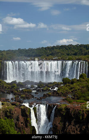 Salto Rivadavia and Salto Tres Musqueteros, Iguazu Falls, Argentina, seen from Brazil side, South America - Stock Photo