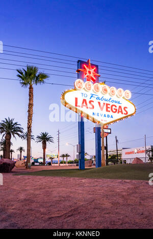Welcome sign, Las Vegas, Nevada, USA - Stock Photo