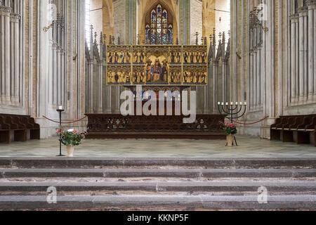 Altar of St. Mary's Church in Stralsund, Mecklenburg-Vorpommern, Germany - Stock Photo