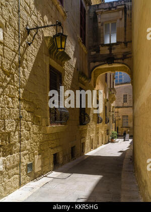 Picturesque lane in old capital of Malta, Mdina - Stock Photo
