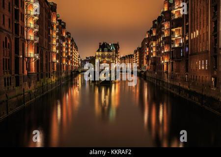 The famous Wasserschloss in the Hafencity, Hamburg - Stock Photo