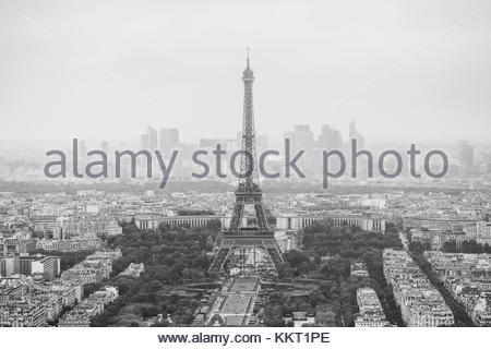 View of the streets of Paris from the heights. Travel through Europe. Attractions in France. Cloudy Paris. Clouds - Stock Photo