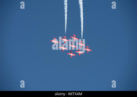 Royal Canadian Snowbirds flying in a 'big diamond' formation at the 'Gowen Thunder 2017 Airshow' at Gowen Field - Stock Photo