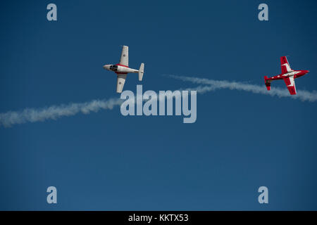 Royal Canadian Snowbirds performing an 'Inverted Opposing Knife Edge Pass at the 'Gowen Thunder 2017 Airshow' at - Stock Photo
