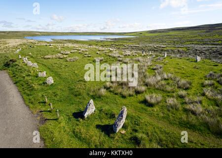 Achavanich Stone Setting 4000 year prehistoric U shaped stone alignments. Lybster, Caithness, Scotland - Stock Photo