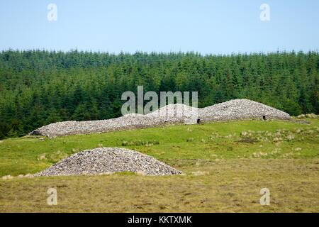 Over Camster Round to Camster Long. The two Grey Cairns of Camster 5000 year Neolithic burial chambers. Caithness, - Stock Photo