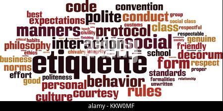 Etiquette word cloud concept. Vector illustration - Stock Photo