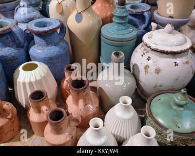 Vintage colorful dishes made of clay - jug, jar, vase. Vintage colorful dishes made of clay - jug, jar, vase. - Stock Photo