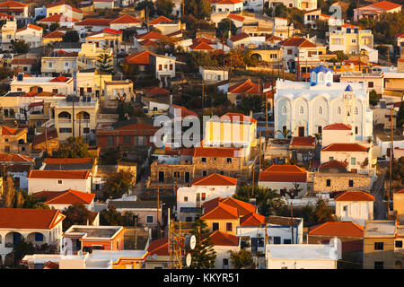 Morning view of Psara village and its main church. - Stock Photo
