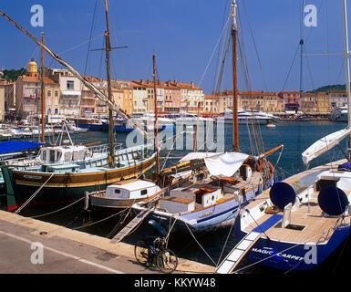 St.Tropez harbour , Cote d'Azur, French Riviera, France - Stock Photo