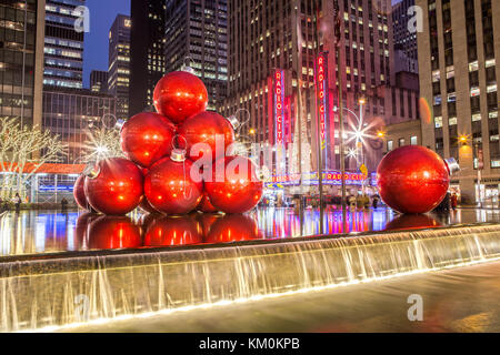 Christmas Decoration in Midtown Manhattan New York City - Stock Photo