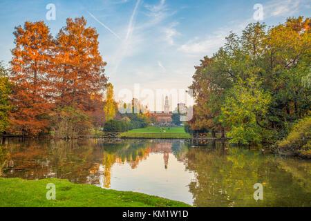 Sforza Castle (Castello Sforzesco), view from Parco Sempione, (Sempione Park), in Milan, Italy. - Stock Photo