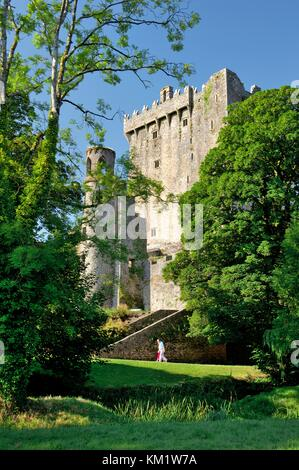Blarney Castle, County Cork, Ireland Eire. The Blarney Stone sits in the battlements at the top of the castle keep. - Stock Photo