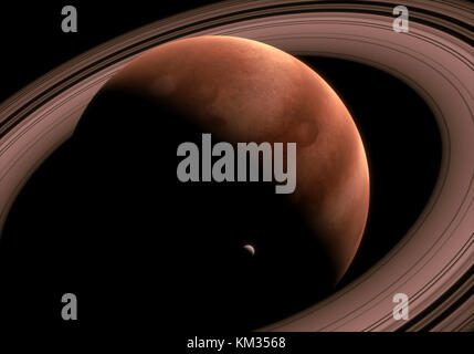 This image represent a generic giant gas planet with rings. It is a realistic 3d rendering - Stock Photo