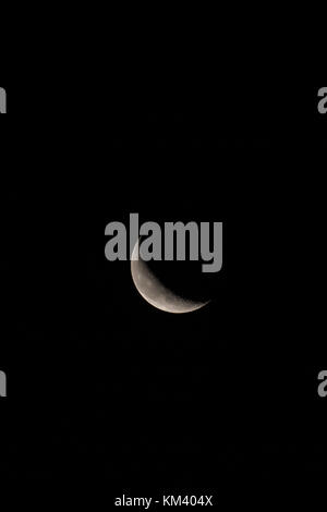 Waning crescent Moon in vertical orientation with room top and bottom for text or copy. - Stock Photo