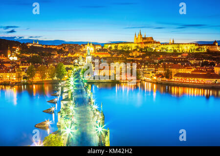 Scenic view of Charles bridge on the Vltava river and historical center of Prague,buildings and landmarks of old - Stock Photo