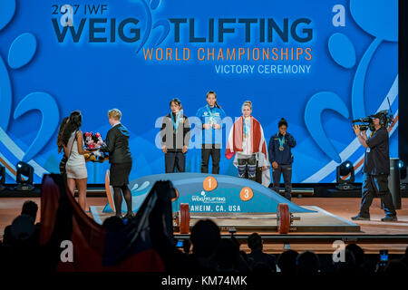 Anaheim, NOV 30: 2017 Kuo Hsing-chun in International Weightlifting Federation World Championships on NOV 30, 2017 - Stock Photo
