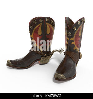 American rodeo cowboy traditional leather boots with authentic Western riding spurs on white. 3D illustration - Stock Photo