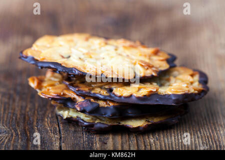 closeup of florentiner cookies on wood - Stock Photo