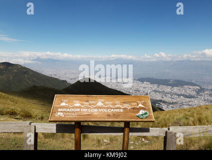 Teleferico, Quito Ecuador - the view from the top of the Teleferico, or Teleferiqo at 14000 feet, Quito, Ecuador - Stock Photo