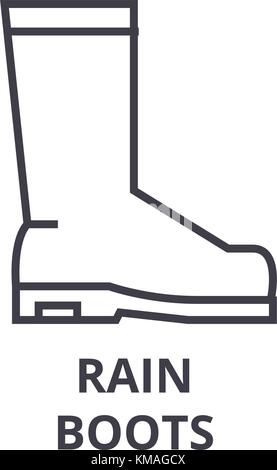 rain boots line icon, outline sign, linear symbol, vector, flat illustration - Stock Photo