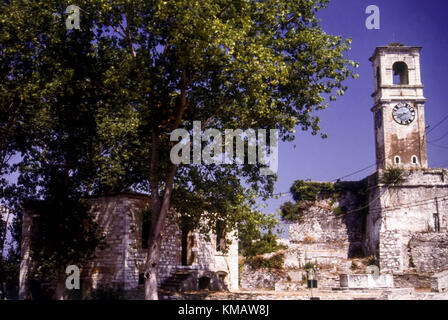 Clock tower in the Old Venetian fort in Corfu Town, Corfu, Greece - Stock Photo