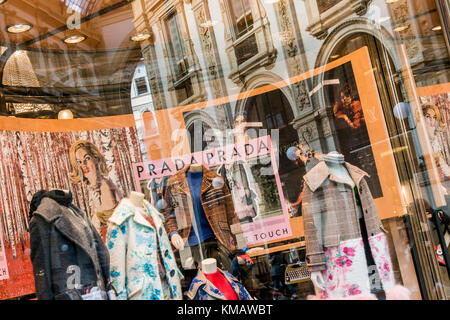 Prada luxury fashion shop in Galleria Vittorio Emanuele II shopping mall, Milan, Lombardy, Italy - Stock Photo