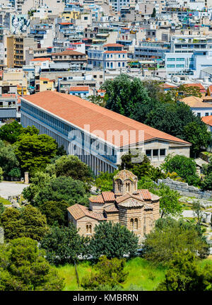 The Byzantine Church of the Holy Apostles and the Stoa of Attalos in Athens, Greece - Stock Photo