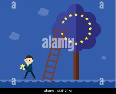 Business man in suit goes out from a European Union tree.Brexit Great Britain EU exit concept vector - Stock Photo
