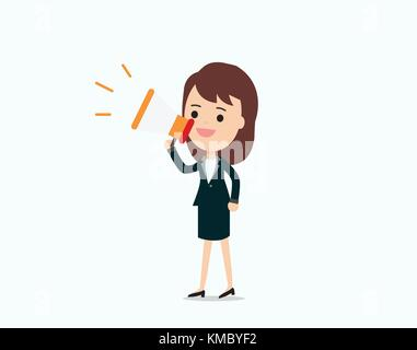 Businesswoman announce with megaphone, promotion marketing concept.character talking loudspeaker vector illustration. - Stock Photo