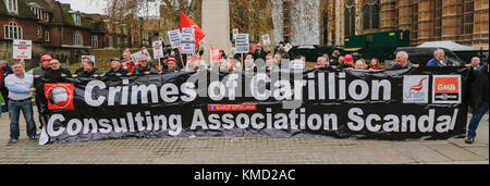 London,UK. 6 December 2017. ' Crimes against Carillion'. Trade Unionists joined the call to demand a public inquiry - Stock Photo