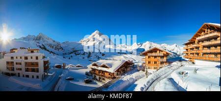 Kuhtai ski resort winter panorama - Stock Photo