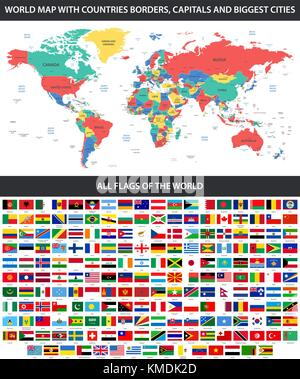 All flags of the world in alphabetical order and Detailed world map with borders, countries, large cities - Stock Photo