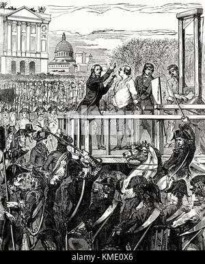 Execution of Louis XVI on Monday, 21 January 1793, Place de la Révolution, Paris, France - Stock Photo