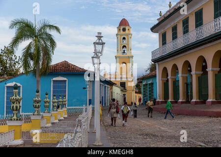 The bell tower of Iglesia y Convento de San Francisco pictured from Plaza Mayor in Trinidad,Cuba. - Stock Photo