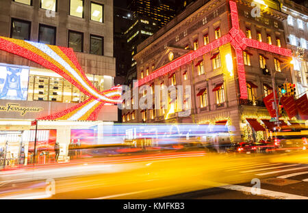 Traffic in fifth avenue in Christmas time, New York City - Stock Photo
