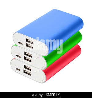Three color portable chargers lie on one on one isolated on white background.  Green, red, blue powebanks for charging - Stock Photo