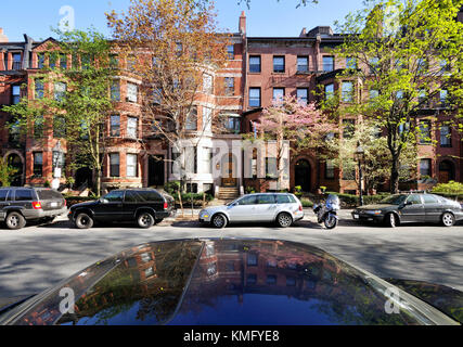 Historic brick buildings in Back Bay, Boston, Massachusetts - Stock Photo