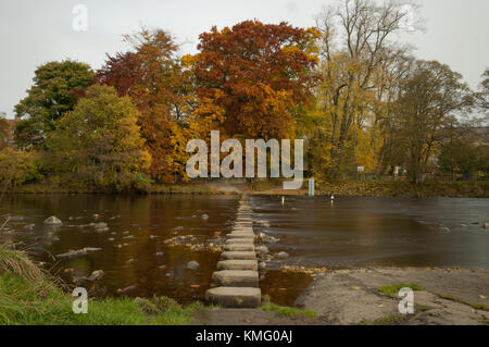 Stepping stones on the river wear in Stanhope, Weardale in County Durham, North East England. - Stock Photo