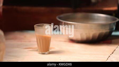 Hot Indian tea, chai - Stock Photo
