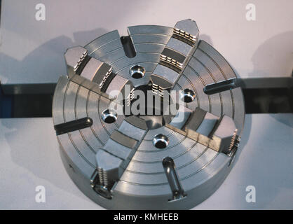 Close up view of part of lathe machine on warehouse - Stock Photo
