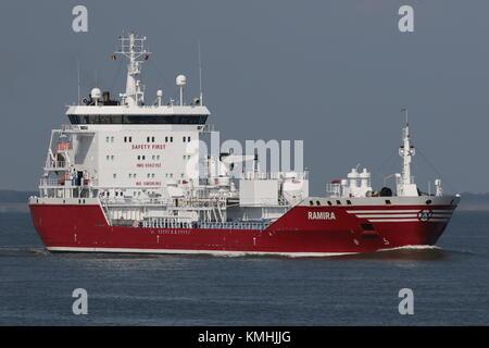 The tanker Ramira passes on 10 May 2017 Terneuzen on the way to Antwerp. - Stock Photo