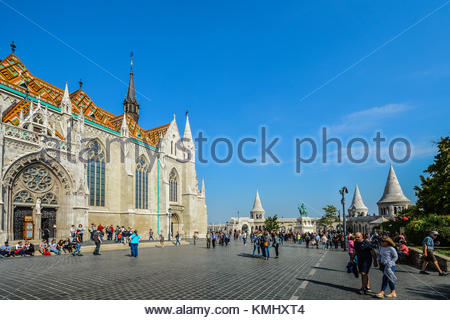Matthias Church and Fisherman's Bastion on a sunny day in early autumn at Budapest's Castle District - Stock Photo