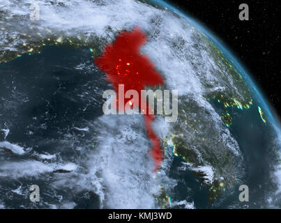 Night above Myanmar highlighted in red on model of planet Earth in space. 3D illustration. Elements of this image - Stock Photo