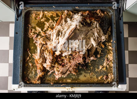 Leftover carcass and bones from a Thanksgiving turkey on an oven tray. - Stock Photo