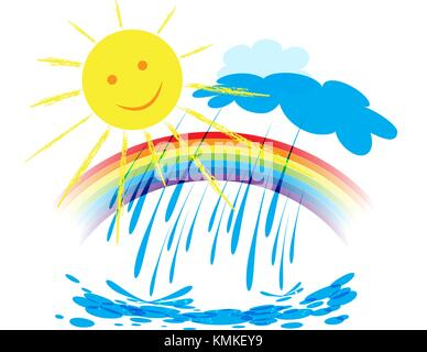Landscape with rainbow in the sky, the sun is shining and it rains, weather design over white background, vector - Stock Photo