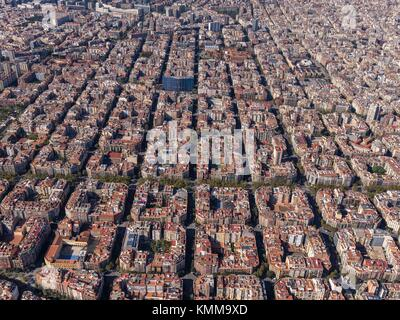 Aerial view of the quarter of ''L'Eixample'' with the characteristic grid in Barcelona. - Stock Photo